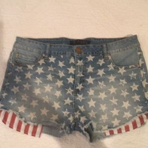 Tinsel Denim Couture Jean Shorts W/Stars & Stripes